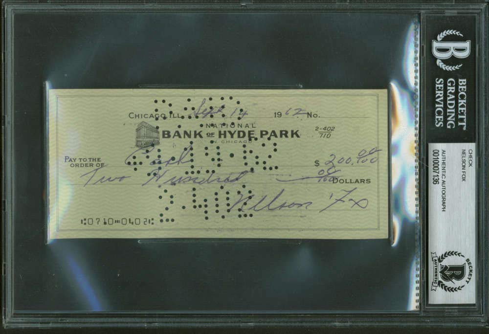 Nellie Nelson Fox Autographed Signed Hand Written 1962 Bank Check Beckett Authentic