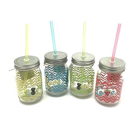 Set di 4 barattoli in vetro con cannucce in vetro colorato estate ...