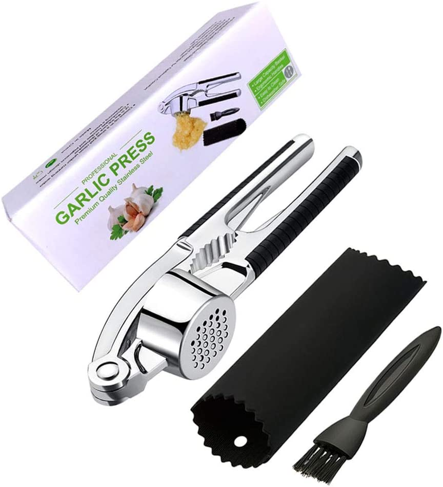 Belisy Garlic Press Stainless Steel Mincer and Crusher with Garlic Rocker Silicone Roller Peeler - Professional Kitchen Tools Sets, Dishwasher safe, Rust- proof