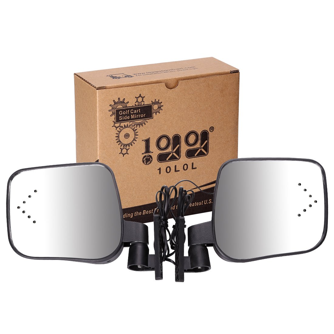 10L0L Side Rear View Mirror Set with Turn Signals for EZGO Club Car Yamaha Gas & Electric Golf Carts by 10L0L