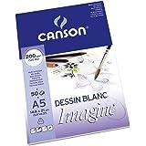Canson Imagine - Bloc papel de dibujo, A5 - 14,8  x  21 cm, color blanco puro