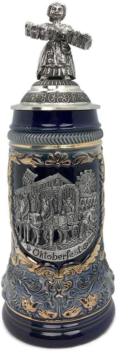 Biergarten 1 Liter Tankard Zoller /& Born Mug Black Motif Made in Germany German Collectible Ceramic Beer Stein with Lid