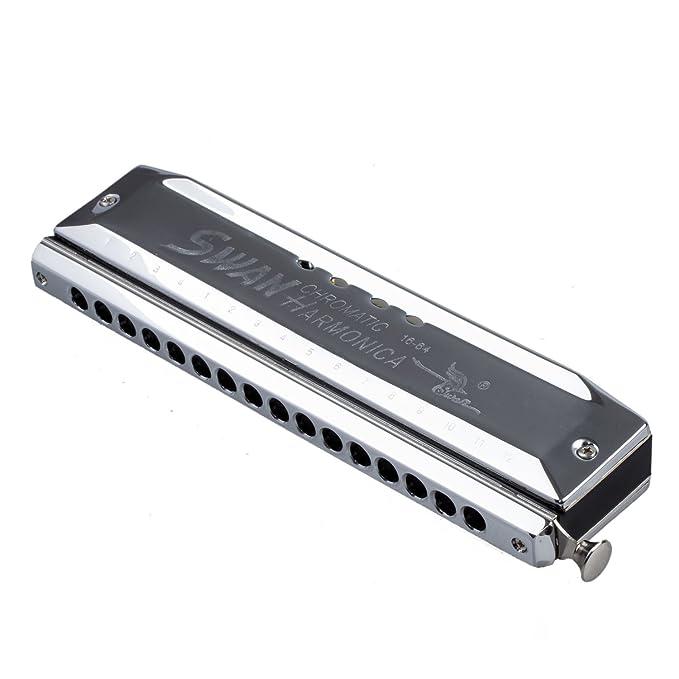 SODIAL(R) Armonica cromatica Tono de plata 16 agujeros 64 Bocas Instrumentos  de Musica: Amazon.es: Instrumentos musicales