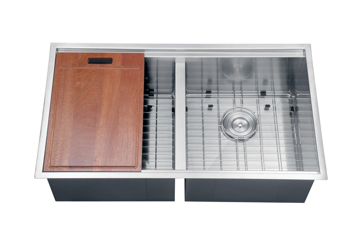 BM kitchen sinks denver Ruvati RVH Undermount Ledge 16 Gauge 33 Kitchen Sink Double Bowl Amazon com
