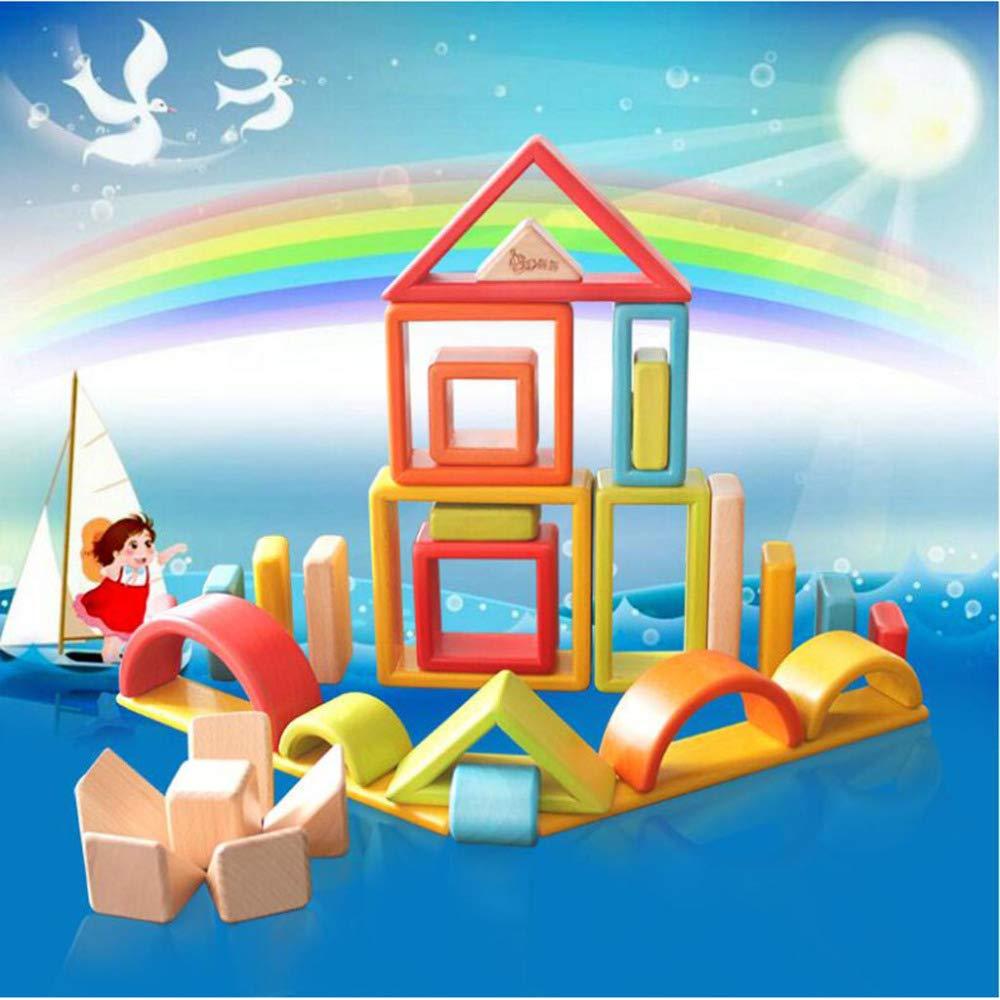 L'arcobaleno Blocca I Giocattoli Creativi di Puzzle del Bambino dei Bambini di Legno Solido di Grandi Dimensioni