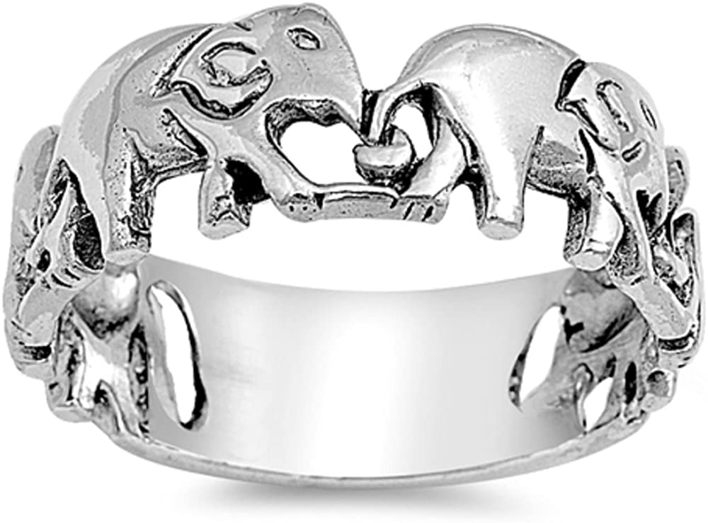 CloseoutWarehouse Sterling Silver Chained Elephants Band Ring