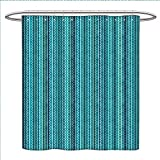 Antique Fishing Lure Shower Curtain longbuyer Abstract Shower Curtain Collection by Wavy Stripe Pattern with Grunge Design Swirls Pattern Antique Composition Patterned Shower Curtain W36 x L72 Aqua Blue Turquoise