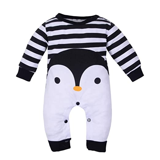 bc0bedb911b Dreamyth Newborn Baby Girl Boy Long Sleeve Striped Cartoon Print Romper  Jumpsuit Pajamas Outfits (3Month