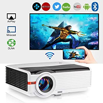 2019 Bluetooth Projector WiFi Wireless Android 5000 Lumens LCD LED Smart Video Projector Home Theater Support HD 1080P Airplay HDMI USB VGA AV for TV ...