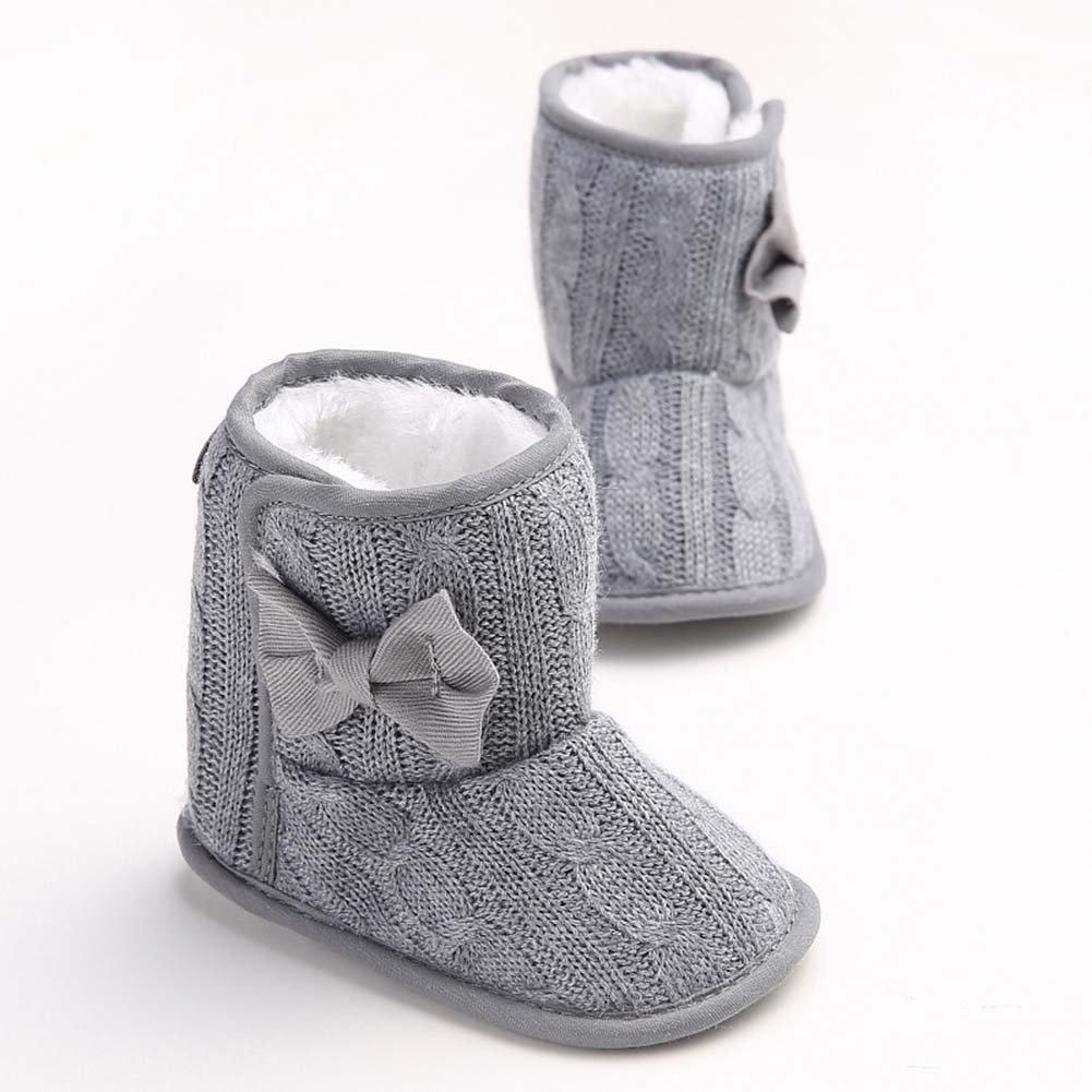 Baorong Baby Girls Fleece Woollen Fur Soft Sole Knitted Bowknot Snow Boot