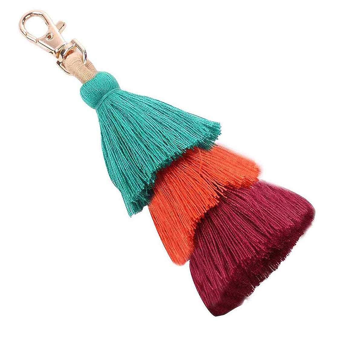 Amazon.com: 2 llaveros de borlas de colores bohemios con ...