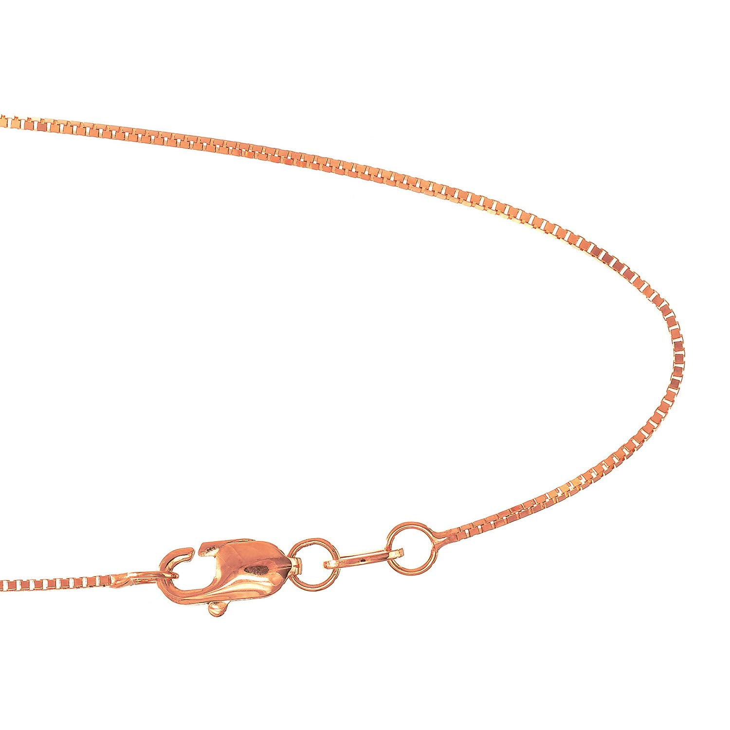 18 Inches Lobster Claw Clasp 18k Solid Rose Gold .6 mm Box Chain Necklace