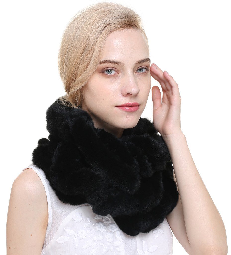 Vogueearth Women'Real Knitted Rex Rabbit Fur Winter Neck Warmer Scarf Black A80156AWCA-Black