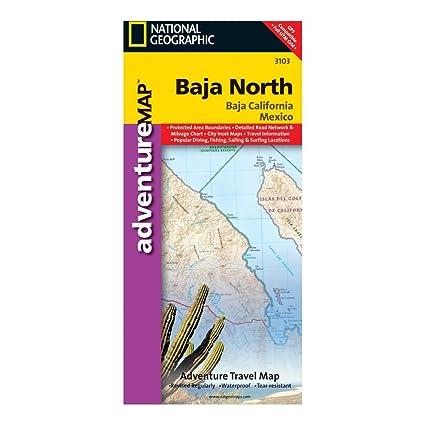 Baja California Map Mexico.Amazon Com Baja California North Mexico Map Sports Outdoors