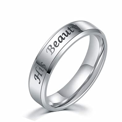 Amazon.com: JDXN Couples Rings Her King His Queen Beauty Beast ...