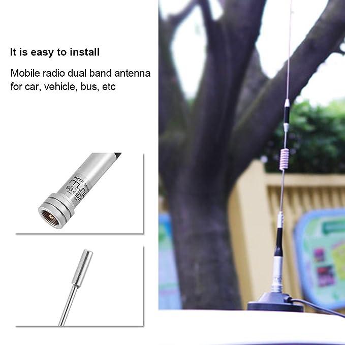 Car Dual Band Antenna,ASHATA Mobile Radio Antenna Dual Band UHF//VHF 144//430MHz 100W Gain for Car Vehicle