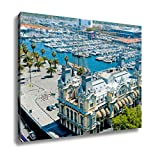 Ashley Canvas Aerial View Of Port Vell And Maremagnum In Barcelona Spain Wall Art Decor Stretched Gallery Wrap Giclee Print Ready to Hang Kitchen living room home office, 24x30
