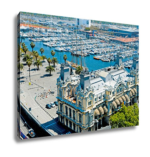 Ashley Canvas Aerial View Of Port Vell And Maremagnum In Barcelona Spain Wall Art Decor Stretched Gallery Wrap Giclee Print Ready to Hang Kitchen living room home office, 24x30 by Ashley Canvas