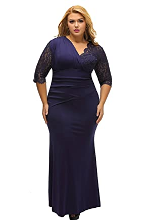 89e555bb459 SunShine Plus Size Dress Full-figured Womens Elegant Half Sleeves Navy Gown  as shown (US 14-16)XL at Amazon Women s Clothing store