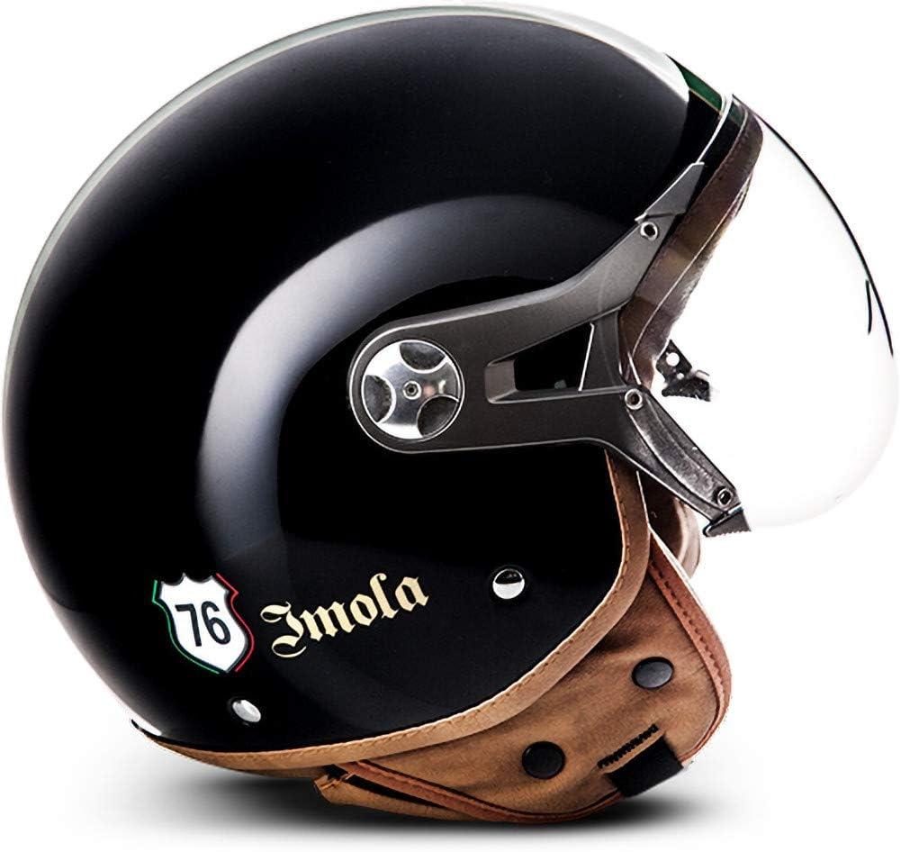 XL SOXON NTNK N325 Imola Black /· Open-Face-Helmet /· Motorcycle Half-Face Jet Pilot Motor-Bike Scooter Retro Chopper Cruiser Vintage Bobber Retro /· DOT Approved /· XS