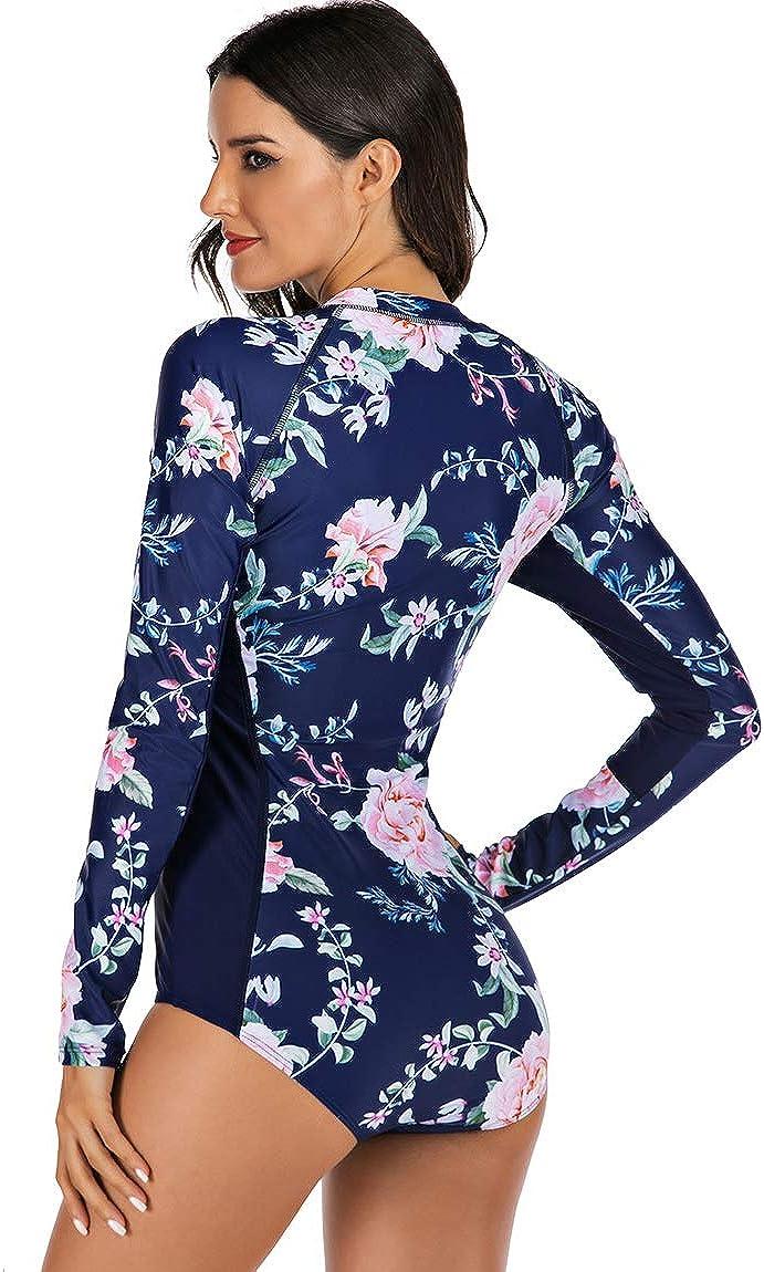 Akaeys Womens Long Sleeve Zip Front Swimwear UV Protection Printed Surfing Swimsuit One Piece Rashguard