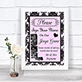Baby Pink Black Damask Jenga Guest Book Personalized Wedding Sign
