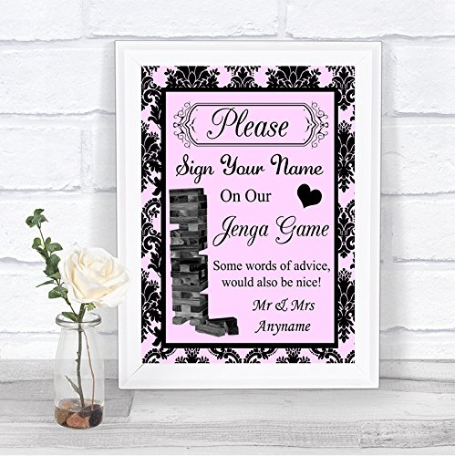 Baby Pink Black Damask Jenga Guest Book Personalized Wedding Sign by The Card Zoo