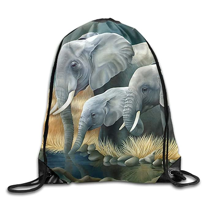 52719149b2 Image Unavailable. Image not available for. Color  Wild African Elephant  Pattern Drawstring Bags ...
