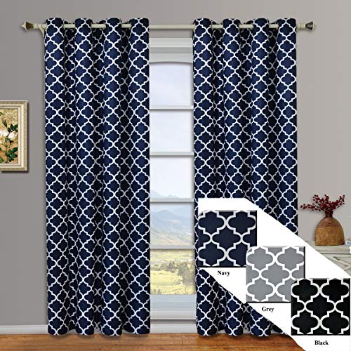 Meridian Navy Grommet Room Darkening Window Curtain Panels, Pair / Set of 2 Panels, 52x84 inches Each, by Royal Hotel (Curtains Navy And White)