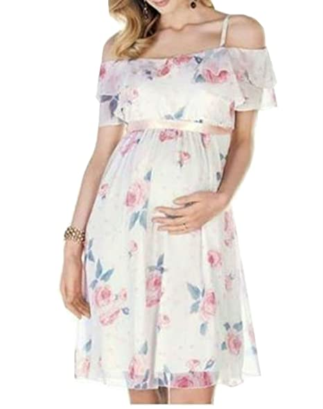 a3d96990c709 D-Pink Women's Maternity Dress Off Shoulder Casual Chiffon Floral Pregnancy  Dress at Amazon Women's Clothing store: