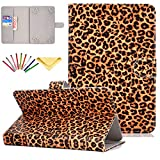 Universal Case for 7 inch Tablet, Uliking Stand Card Pocket Cover with Pencil for 6.8' 7' Samsung Galaxy Tab 2/3/4/A/E 7.0/Fire 7/for HP/for Huawei/for Asus and Other 6.5'-7.5' Tablet, Leopard Print