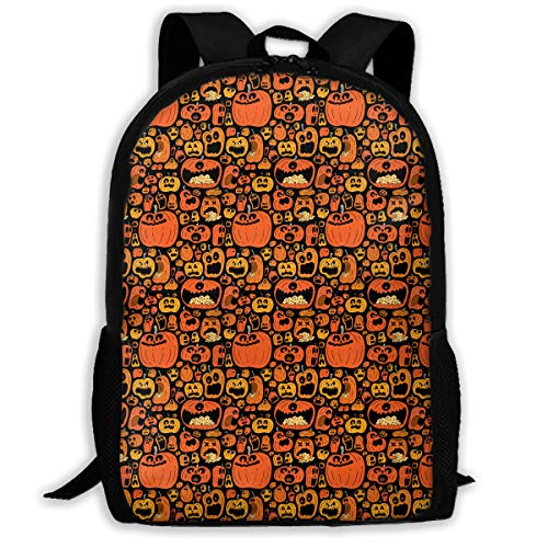 UYILP Halloween Pumpkin Jack-o-Lantern Adult Premium Travel Backpack, Water-Resistant College School Bookbag, Sport Daypack, Outdoor Rucksack, Laptop Bag for Men&Women