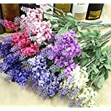 2X 10 Heads Artificial Lavender Silk Flower for Bouquets Wedding Home Party Decor-Red and Purple
