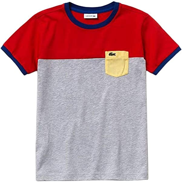Lacoste Camiseta Color Block Gris Niño 6A Gris: Amazon.es: Ropa y ...