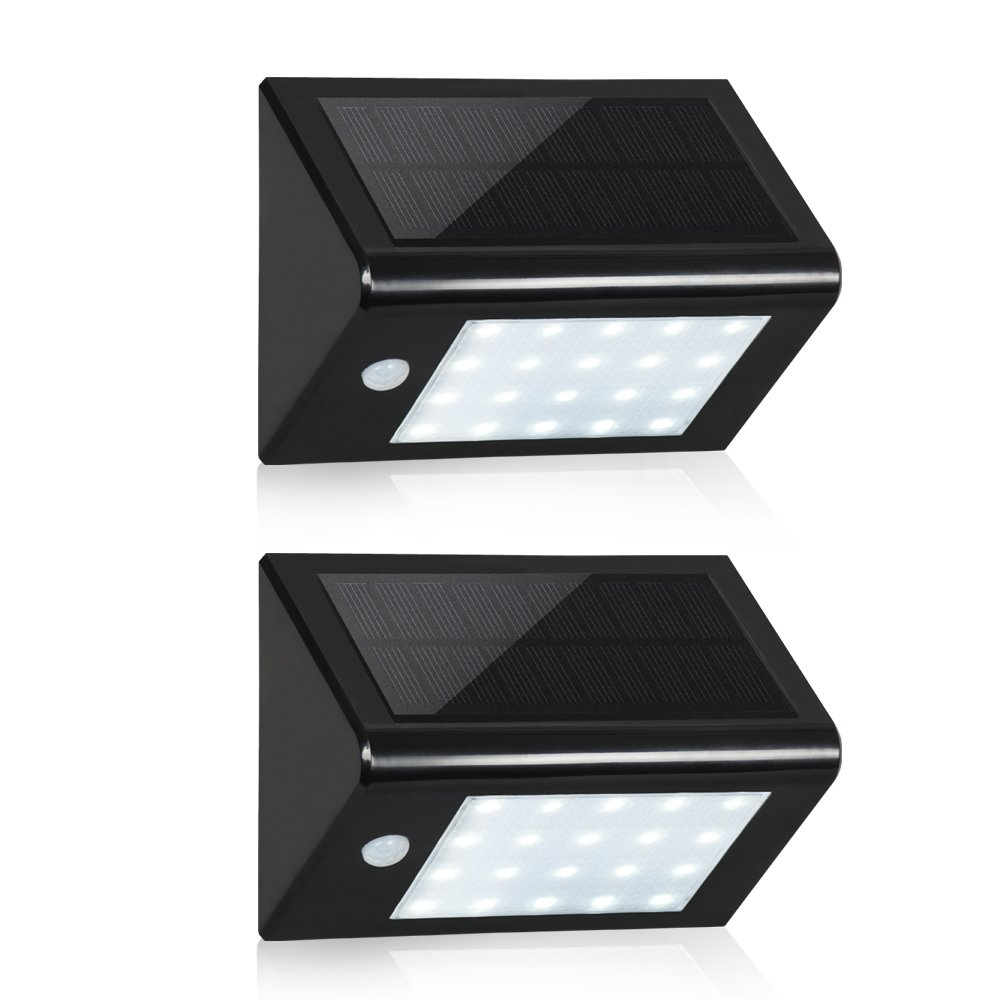 Solar 20 LED 壁取付用ライト ブラック T-SUN B01LSOB8UC 14740 Black(6000K)-2 Pack Black(6000K)2 Pack