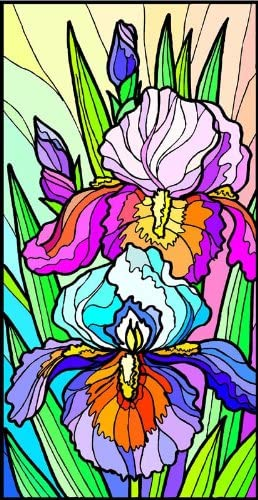 Blue and Purple Dutch Iris Flowers – Etched Vinyl Stained Glass Film, Static Cling Window Decal