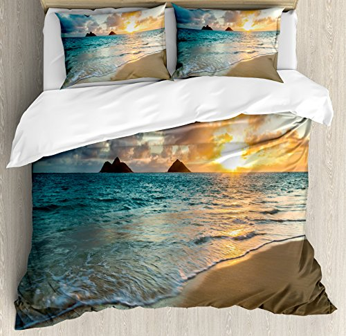 Comforter Hawaiian (Ambesonne Hawaiian Duvet Cover Set King Size, Scenic Sunrise Over Ocean Rocks Sand Clouds Sunshine Tide Sunbeam Seashore, Decorative 3 Piece Bedding Set with 2 Pillow Shams, Yellow Turquoise)
