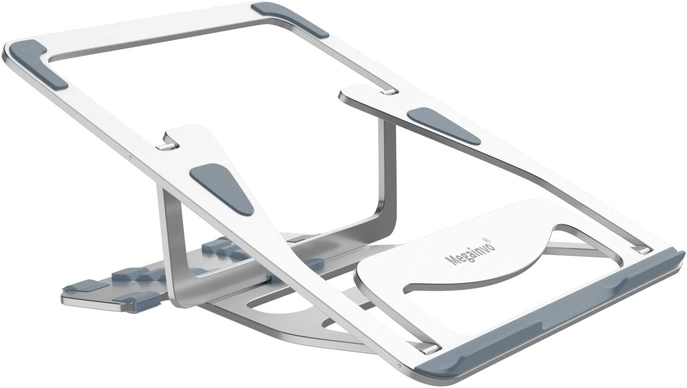 Adjustable Laptop Stand, Megainvo Foldable Laptop Stand Portable MacBook Riser Aluminum Alloy Ventilated Holder 5-Angle Adjustable for 9.7-15.6 Inch Notebook MacBook Computer PC iPad Tablet
