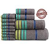 Casa Copenhagen Exotic Cotton 475 GSM 12 Pieces Bath, Hand & Washcloth Towels Set - Grey