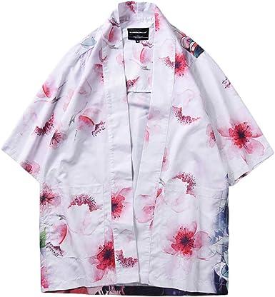 ZIXINGA Hombre Camisa Kimono Estilo Japonés Estampado Holgado ...