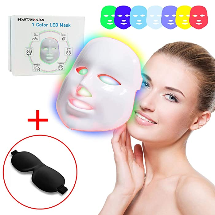 7 Color LED Mask, BeautyHuoLian Light Therapy Skin Rejuvenation 7 Color PDT Photon Facial Skin Care Mask Facial Mask LED Portable SPA Face LED Mask With Black Eye Mask