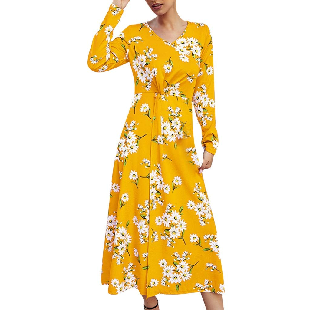 SEXYTOP Womens Dresses New Floral Printed Boho Long Sleeve Maxi Dress Beach Holiday Dresses 2019 Slim Wrapped Dress by SEXYTOP