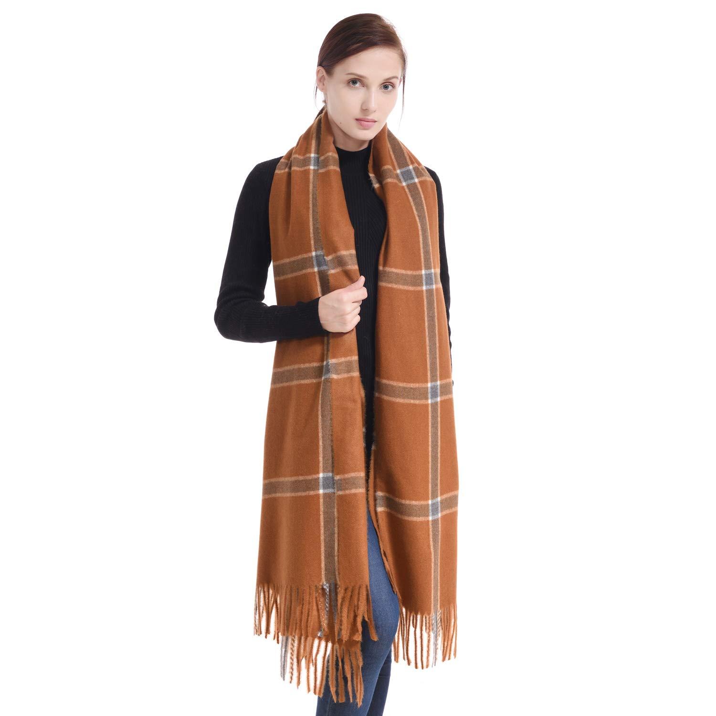 Dark Brown Tartan LERDU Ladies Cashmere Pashmina Scarf Wool Wrap Shawl Winter Stole for Women Grey