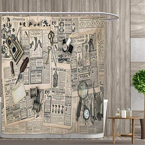 smallfly Clock Shower Curtain Collection by Antique Accessories Design Old Fashion Magazine Sewing and Writing Tools Print Patterned Shower Curtain 72
