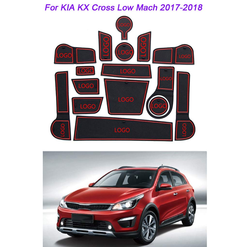 AUWU 16pcs/Set Door Slots Cup Holder Storage Box Non-Slip Groove Mat Replacement for Kia KX Cross 2017-2018