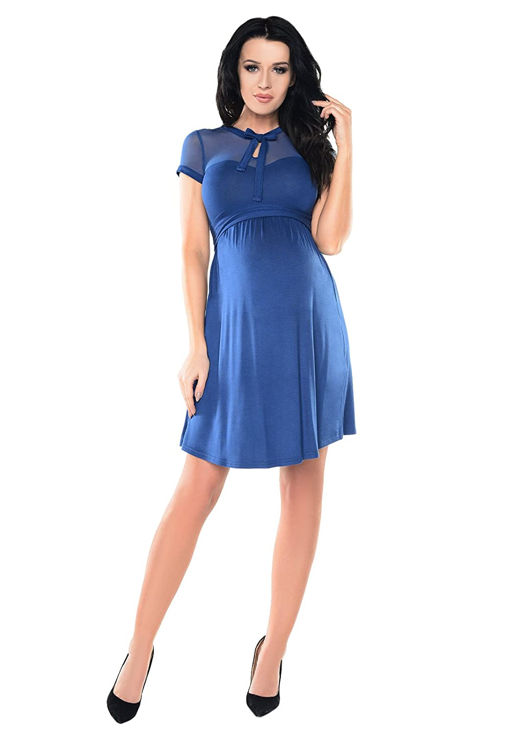 Purpless Maternity Short Sleeved A-Line Pregnancy Dress with Polka Dot Lace Panel D004