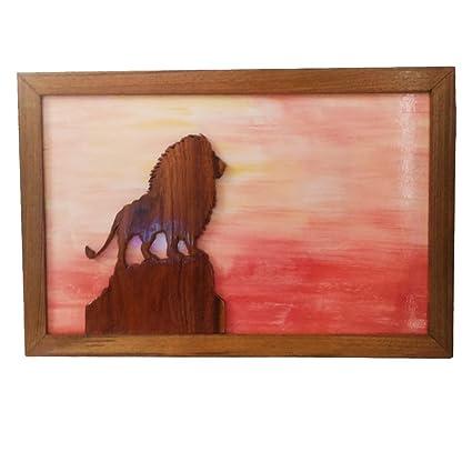 SISAM Wood Art Lion 3D Wooden Wall Frame