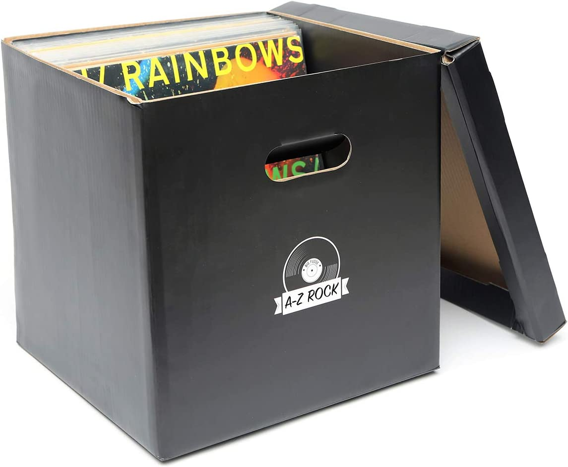 Big Fudge Record Cube! Vinyl Record Storage Holder - Set of 5 Boxes for Beloved Vinyls with Blank Labels to Keep Track of Albums Inside - Keeps Up to 350 LP Records Safe! Record Album Storage