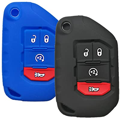 Qty(2) Alegender Silicone 4-Btn Flip Key Cover Fob Case Skin Remote Jacket Protector for 2020 2020 Jeep Wrangler JL JLU Rubicon 2020 Jeep Gladiator JT OHT1130261 Black Blue: Automotive
