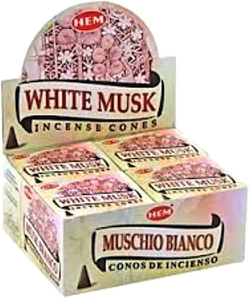 White Musk Case of 12 Boxes 10 Cones Each HEM Incense From India
